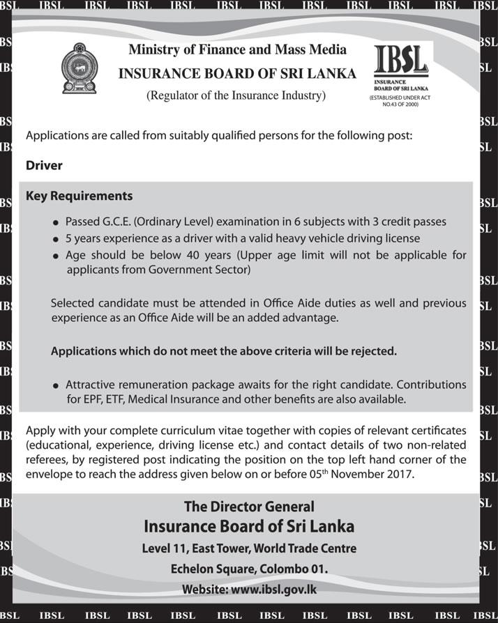 Driver - Insurance Board of Sri Lanka